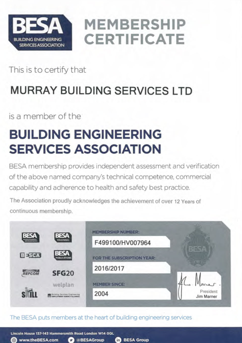 BESA accreditation